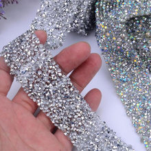 1 Yard Hot Fix Glitter dress Rhinestones Motifs Ribbon Crystal iron on patches applique hotfix strass Sewing & Fabric 3cm wide(China)