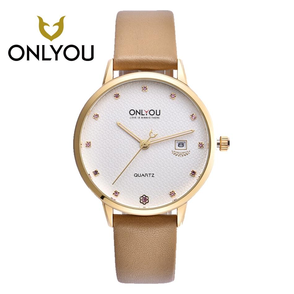 ONLYOU Brand Womens watches Luxury  Fashion Ladies Watch Rose Gold Leather Rhinestones Women Clock Waterproof Quartz Watch<br>