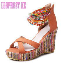 Lloprost ke Beading Bohemia Summer Wedges Sandals Women High Heels Sandals Ladies Platform Wedge Shoes Plus size 33-43 JT345