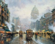 San Francisco Market Street Thomas Kinkade HD Canvas Print Living Room Bedroom Wall Pictures Art Painting Home Decoration