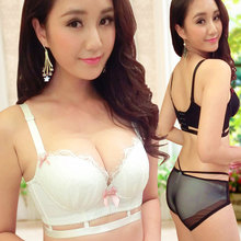Japanese Princess bra set thick sexy little chest hollow lady underwear sutian gather cute lingerie bralette white sets