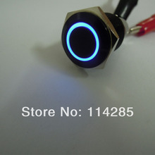 New 16mm 12V 3A Black Metal Push Button Switch Blue Led Angel Eye ON-OFF Switch(China)