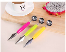 Double Head Dig Ball Scoop Spoon Baller DIY Creative Assorted Cold Dishes Tools Watermelon Melon Fruit Carving Knife Cutter