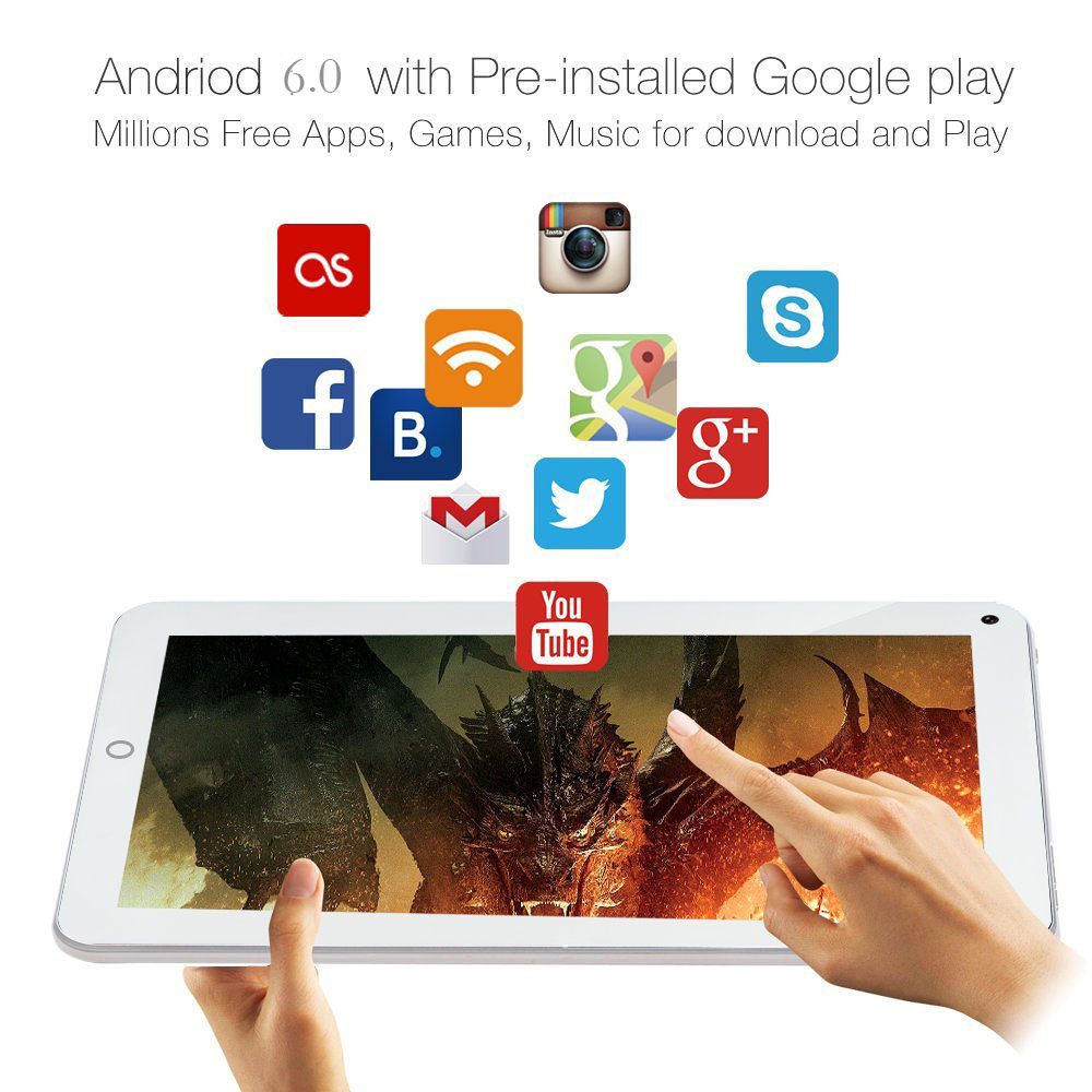 KMAX 7 inch IPS MTK8163 Quad Core CPU Android 6.0 Dual Cameras Bluetooth WIFI Tablet PC 16GB ROM 1024*600 Google Tablets