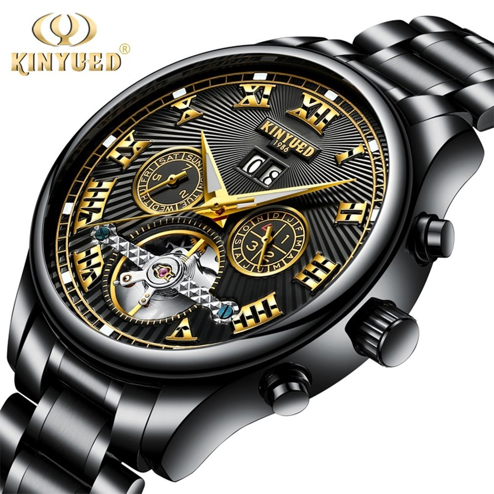 KINYUED Skeleton Automatic Flying Tourbillon Leather/Steel Strap Mechanical Watch Self Winding Horloges with Watch Box<br>