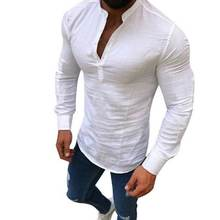 4503d44d9da0 AOWOFS 2019 Sexy New Men Long Sleeves Blouse Summer Fashion Casual Cool Clothing  Slim Fit Tees Tops Male Breathable Linen Shirt