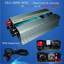 ce rohs available pure sine dc 10.5-30v to ac 90-130v 190-260v 300w wind inverter grid tie(China)
