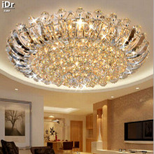 Contemporary luxury crystal ceiling circular living room lights LED lighting Bedroom Ceiling Lights 100% quality guarantee(China)