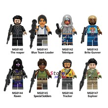 Single Building Blocks With Weapon Blue Team Leader Teknique Raven Reaper Game Battle Royale mini Action Figure toy for children(China)