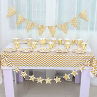 Gilding High End Disposable Gold Striped Tableware Plate Straw Banner Popcorn Bucket Birthday Party Decoration