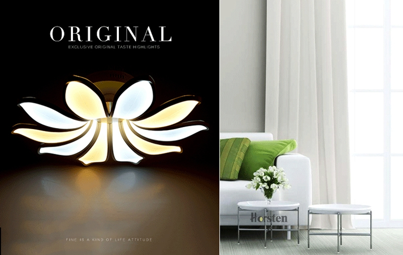 Horsten Simple Flower Acrylic LED Ceiling Light Modern Creative Lotus Ceiling Lamp For Living Room Bedroom With Remote Controller (1)