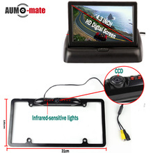 CCD Auto Rear View Camera Car Stlying Parking System Black License Plate with 4.3'' Foldable Monitor