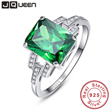 Classic 10.75ct Nano Russian Emerald Ring Emerald Cut Solid 925 Sterling Silver Ring Set Best Brand Fine Jewelry For Women(China)