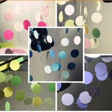 2M Long Paper Garland Ornaments Curtain Wall Pop Disc Holiday Party Wedding Room Classroom Decor Wall Decorations
