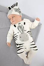 Fashion newborn toddler baby rompers long sleeve cartoon zebra jumpsuit infant clothing baby boy girl clothes with cap(China)