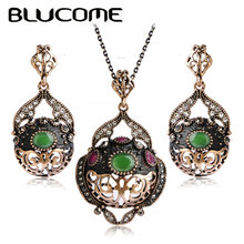Blucome Luxury Women Pendants Green Acrylic Resin Brincos Turkish Large Size Necklace Earrings Set Vintage Black Jewelry Sets
