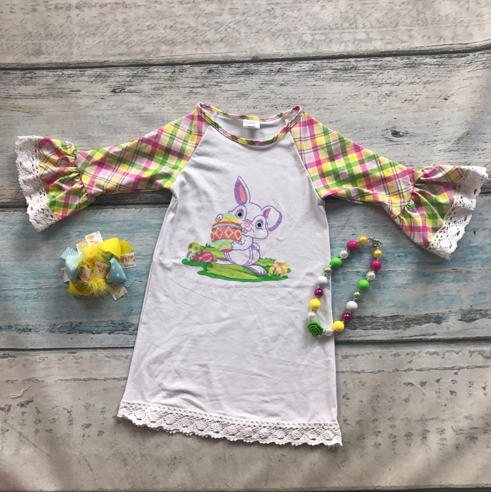 Easter cotton design new baby girls kids boutique clothing eatser bunny dress sets plaid ruffles with matching accessories set<br><br>Aliexpress