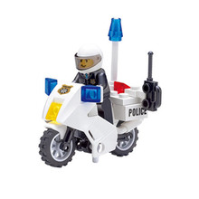30pcs/set Patrol Police Motorcycle DIY Building Blocks Toys Kit Children Educational Birthday Christmas Gifts(China)