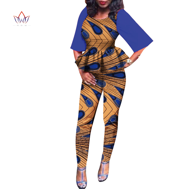 African Dashiki For Women Top And long Pants Set Print robe africaine femme bazin Traditional African Clothing Dashiki Set WY805