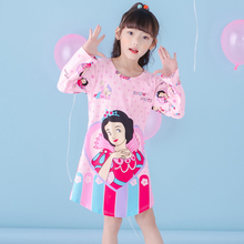 Girls Nightgown children clothing Knitting cotton long sleeved pajamas dress Cute kids Homewear Nightdress Free Shipping