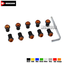 For KAWASAKI NINJA 250R/300 ZZR 400 versys 650/1000 KX45 Motorcycle Windshield Bolts Screw Nut Fastener Kit 5mm 10Ps eight color(China)