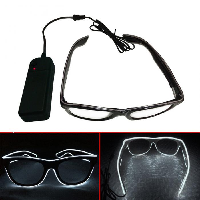 Fashion LED EL Wire Glasses Luminous Neon Light Up Glow Eyewear Shades Sunglasses Costume Party Activing Props Gifts FJ8