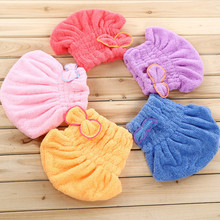 Magic Hair Fast Dry Towel Cap Bath Wrap Twist Hat Bowknot Soild Quick Dry Cap Head For Women Ladies Bath Tools(China)