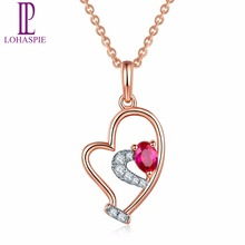 Lohaspie 17.2x12.5mm Solid 18K White Rose Natural Gemstone Ruby Diamonds Heart Pendant Necklace For Women Diamond-Jewelry 2017(China)
