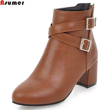 ASUMER 2018 winter new arrive women boots round toe zipper ladies boots square heel black white gray brown ankle boots