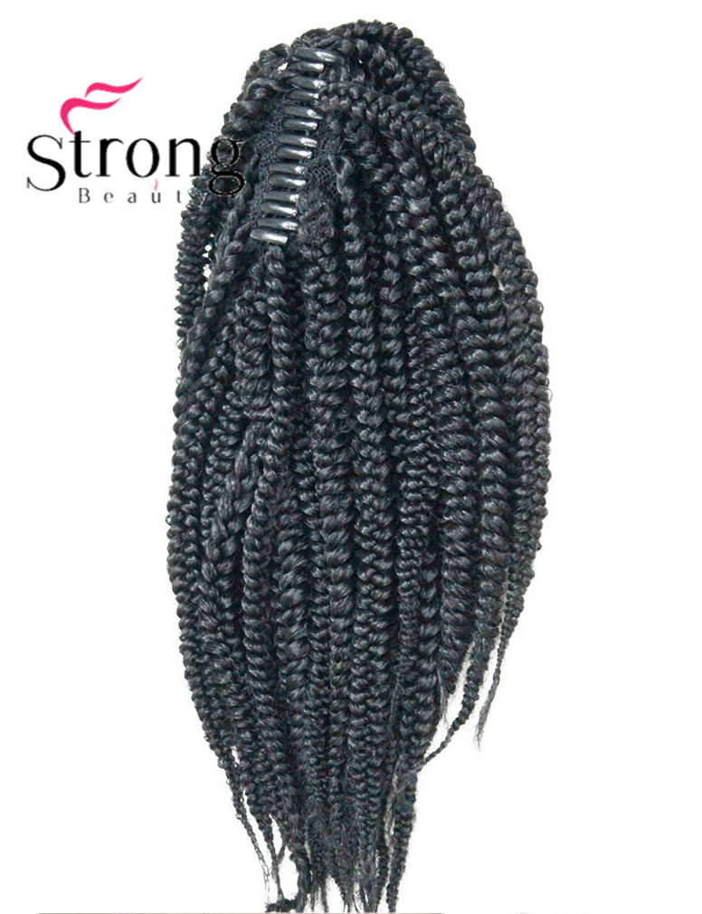 Long Afro Kinky Curly Crochet Twists Braids Ponytail Hair Extension Synthetic HairPiece with Jaw Claw Clip (Black) (5)