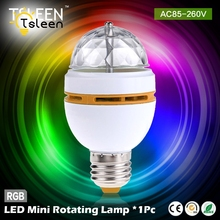 TSLEEN Flash Sale E27 3W Full Color Stage DJ Lamp Light RGB Crystal Auto Rotating LED Bulb Lamp Convertor Holder SocketBase(China)