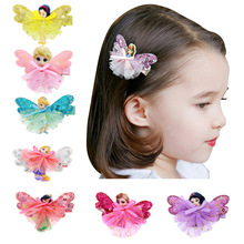 New Fashion Cartoon Wings Mini Skirt Kids Hairpins Baby Hair Clips Princess Barrette Children Headwear Girls Hair Accessories(China)