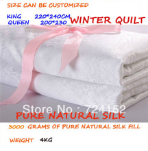 FREE SHIPPING  Winter duvet 100% mulberry silk quilt/duvet/ comforter every size weight about 4kg Queen 200*230/ KING220*240cm