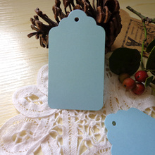 50pcs Light Blue DIY Paper Gift Tag Party Wedding Message Gift Hang Tag,Christmas Craft Cards Label Hemp String Included