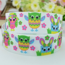 7/8 inch Hootin Happy Easter Owls Grosgrain Ribbon What A Hoot 4 Hairbow 50yards/lot