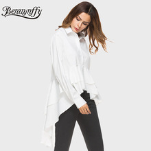 Benuynffy Cascading Ruffle White Shirt Women Fashion Tops 2017 Autumn Ladies Elegant Lapel Long Sleeve High Low Blouse X532(China)