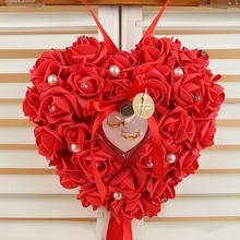 Flower Heart Shaped Bowknot Bride Wedding Ring Pillow Roses Ribbon Pearl Foam Wedding Decoration Party Supplies