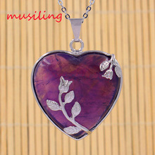 Natural Stone Heart Rose Pendants Necklace Chain Silver Plated Amethyst Red Agate etc Charms European Fashion Jewelry 1pcs
