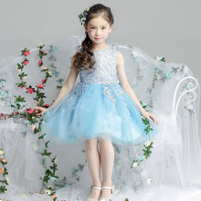 Flower girl 2017 blue princess tutu dress summer for size 1 2 3 4 5 6 7 8 9 10 11 12 13 14 years baby child dress piano costume