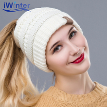 IWINTER 2018 New Winter Hat For Woman Wool Top Empty Cap For Girls Skullies Beanies Knitted Beanies Cap Brand Thick Women's Hat(China)