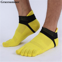 Men Socks Boys Cotton Finger Breathable Five Toe Socks Pure Sock Ideal For Five 5 Finger Toe Shoes Unisex Hot(China)