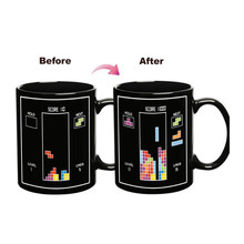 Tetris Color Change Mug Temperature Changing Tea Coffee Mugs Magic Ceramic Mug Gift for Tetris fans
