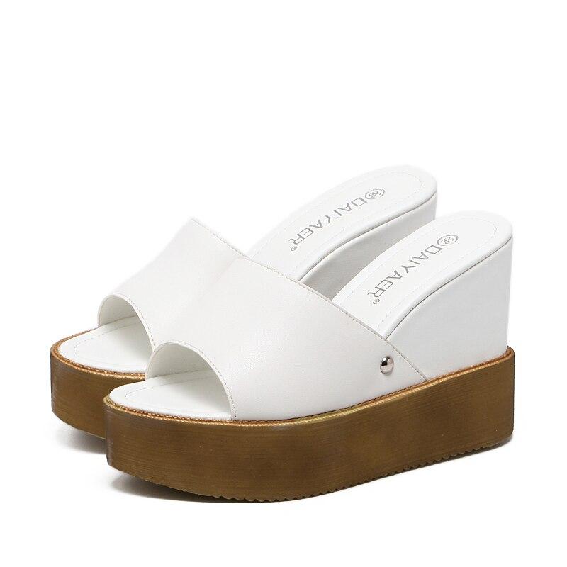 2017 Summer Sexy Girl Vintage White Plain PU Trifle Wedge Platform High Heels Women Sandals Peep Toe Woman Casual Slipper Shoes<br><br>Aliexpress