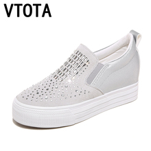 VTOTA Genuine Leather Casual Platform Shoes Woman Spring Crystal Slip Shoes Women zapatos mujer High Heels Pumps F65