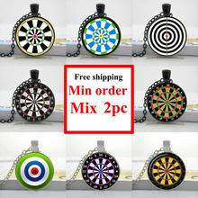 HZShinling 2018 Dart Necklace Dart Pendant Dart Jewelry Round Glass Target Necklace Personalized Picture Necklace HZ1(China)