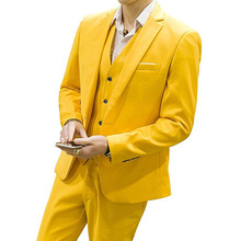 Yellow Wedding Groomsmen Tuxedos Three Piece Jacket Pants Vest 2018 Notched Lapel Custom Made One Button Party Men Suits(China)