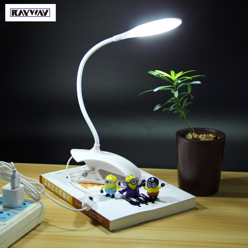 RAYWAY Led Desk Lamp Clip Modern USB Rechargeable Desk lamp Bedside Lights Table Desk Lamps Touch On/Off Switch,White LED light<br><br>Aliexpress