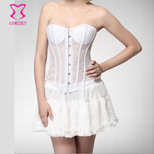 Strapless Padded Cup Hollow Out Lace White Corset Bridal Lingerie Women Wedding Corsets and Bustiers Sexy Gothic Bustier Top