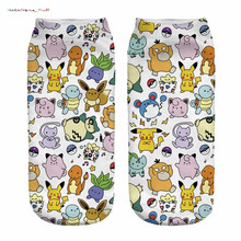 "NoEnName_Null  high quality Design 1 Pair  "" Poke Comic "" Printing Socks Cotton Polyester Casual Sock Unisex Low Ankle Sock"