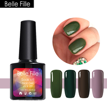Belle Fille 10ml Beautiful Gel Nail Art Design Fashion Girl With Green Color Soak Olive Green Color For Party Makeup UV Gel(China)